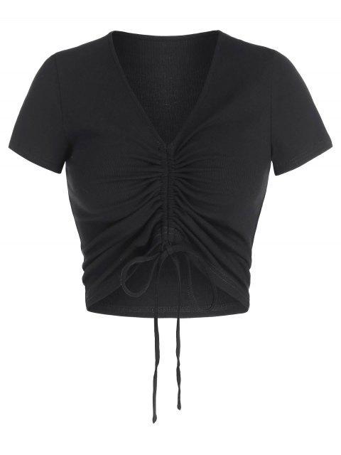 affordable ZAFUL Cinched V Neck Crop T Shirt - BLACK M Mobile