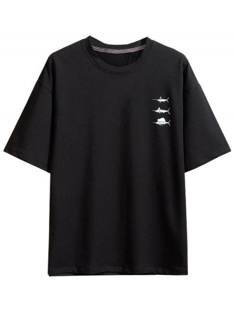 latest Swordfish Pattern Short Sleeve T-shirt - BLACK 3XL Mobile