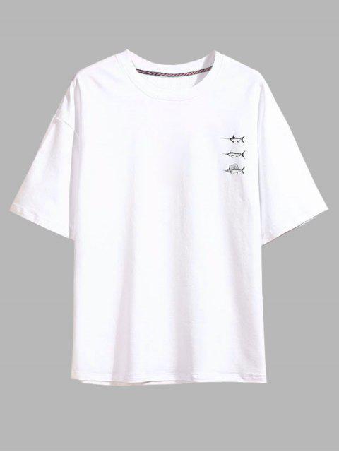 T-Shirt à Manches Courtes Motifd'Espadon - Blanc 3XL Mobile