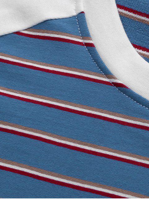Gestreiftes Farbblock Raglan Ärmel T-Shirt - Marinblau 3XL Mobile