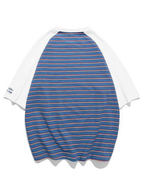 T-shirt de Raglan às Riscas Bloco de Cores - Azul Marinho 3XL Mobile