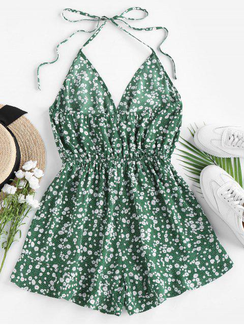 womens ZAFUL Ditsy Floral Tie Surplice Halter Romper - MEDIUM SEA GREEN XL Mobile