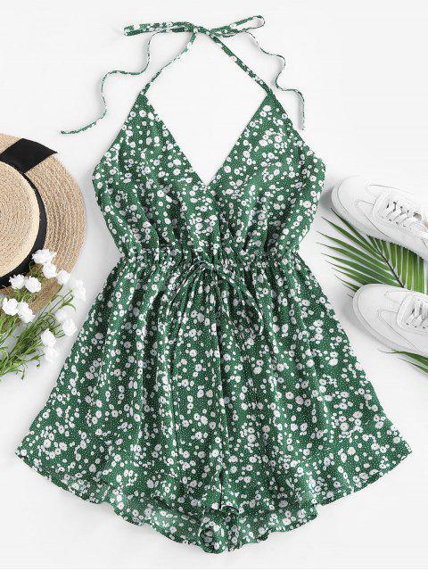 outfits ZAFUL Ditsy Floral Tie Surplice Halter Romper - MEDIUM SEA GREEN L Mobile