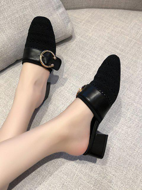 ladies Square Toe Buckled Chunky Heel Shoes - BLACK EU 39 Mobile
