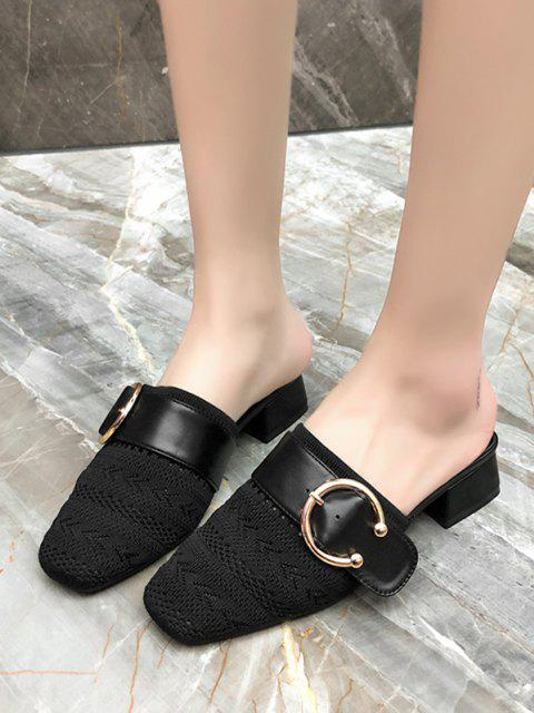 Quadratische Zehe Schnallen Klobige Ferse Schuhe - Schwarz EU 39 Mobile