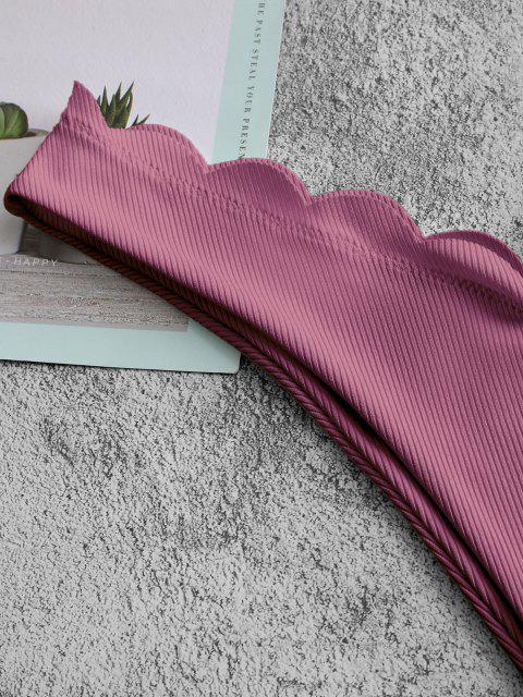 ZAFUL Geripptes Überbackenes Schulterfrei Slips mit Hohem Bein - Mittleres Violett Rot L Mobile