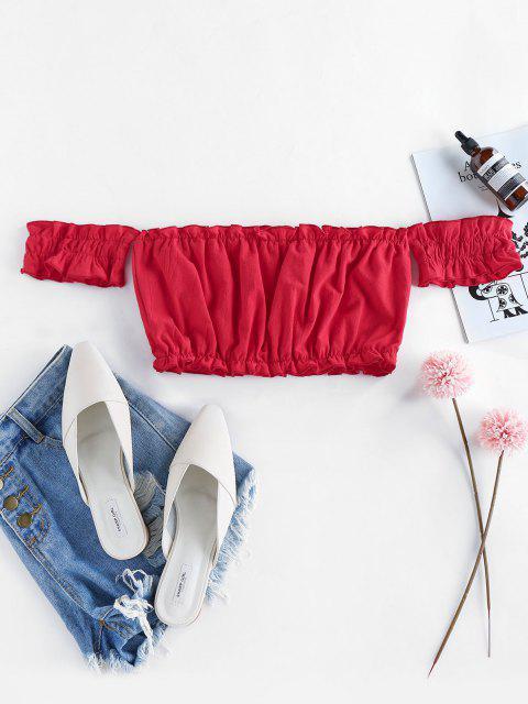 online ZAFUL Off Shoulder Frilled Ruched Crop Top - RED L Mobile