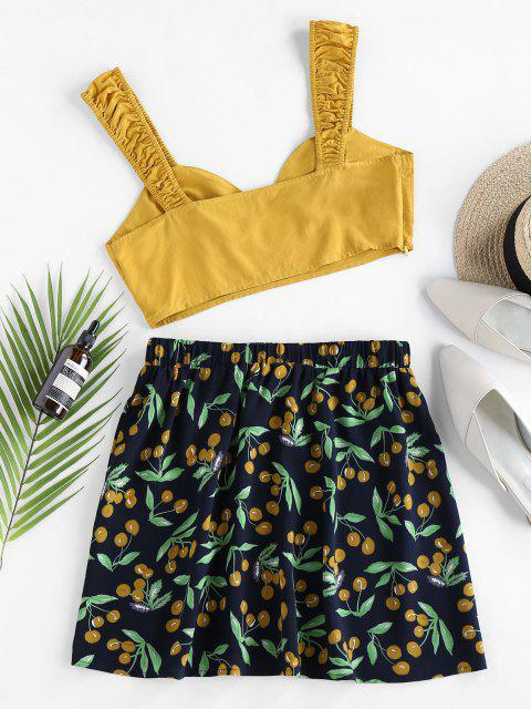 new ZAFUL Cherry Print Ruched Contrast Two Piece Set - YELLOW S Mobile