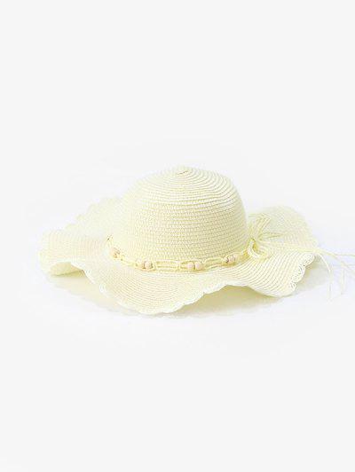 Beads Wavy Edge Straw Hat