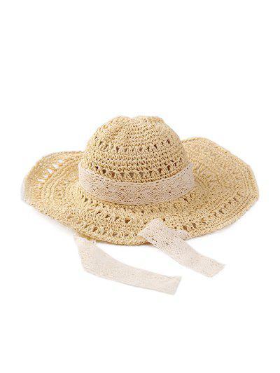 Lace Ribbon Crochet Straw Hat