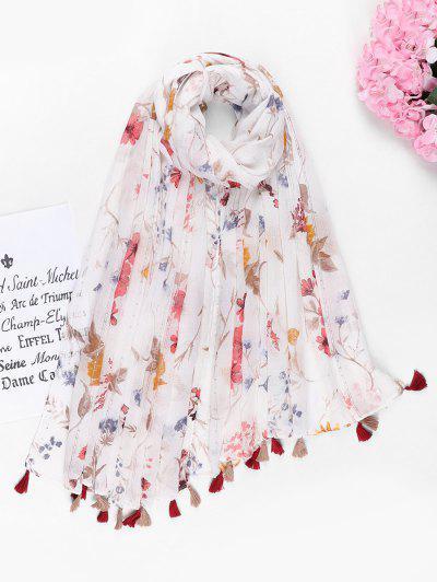 Flower Printed Sequin Tassel Scarf