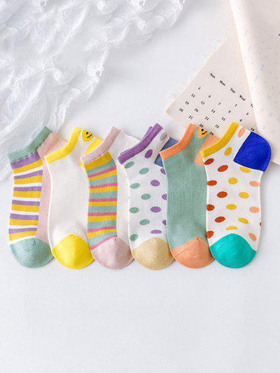 6Pairs Dot Stripe Pattern Socks Set