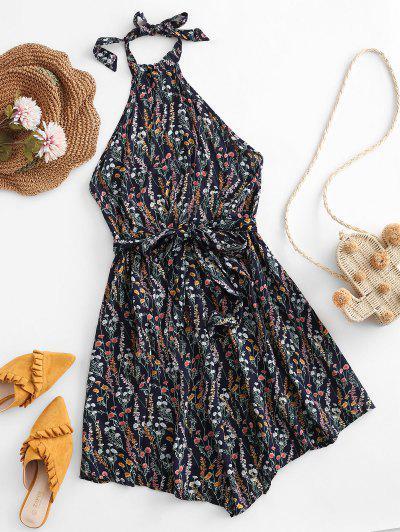 Tiny Floral Backless Belted Halter Dress - Cadetblue M