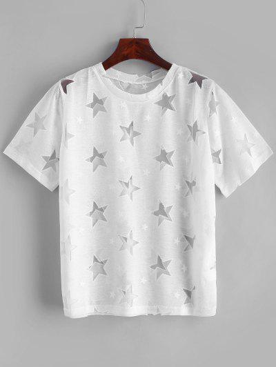 Mesh Star Round Neck Tee - White M