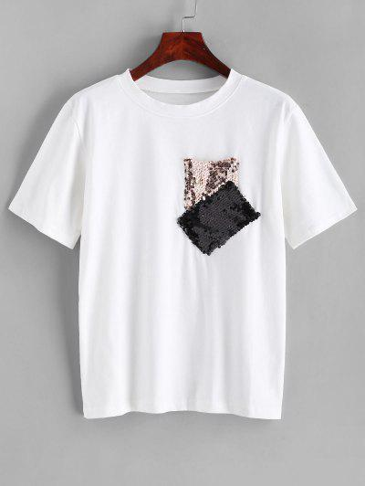 Sequined Pocket Short Sleeves Tee - White S