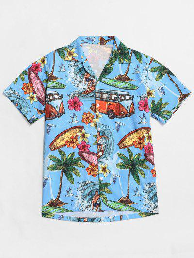 Palm Tree Flower Hawaii Vacation Shirt - Deep Sky Blue L