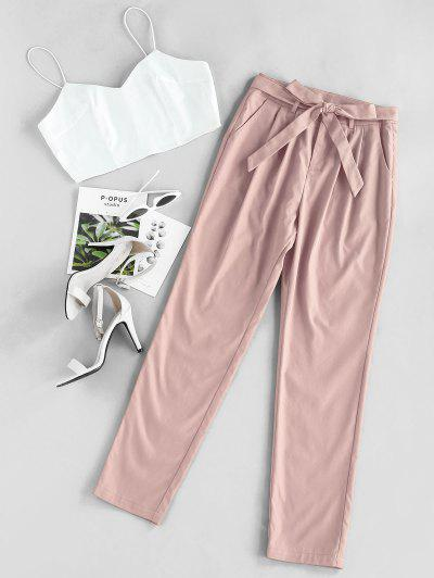 ZAFUL Cami Crop Top With Pants Two Piece Set - Light Pink M