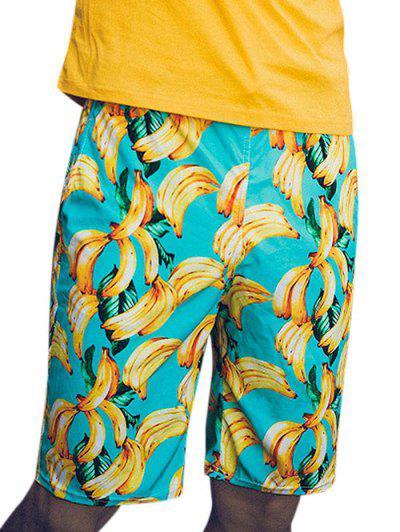 Banana Print Beach Vacation Shorts - Multi M