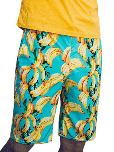 Banana Print Beach Vacation Shorts - Multi L