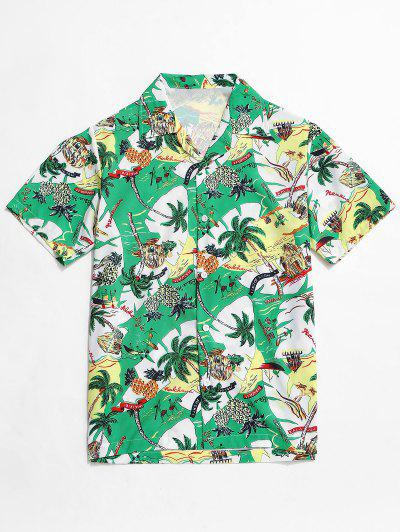 Hawaii Vacation Pineapple Palm Tree Shirt - Sea Turtle Green 2xl