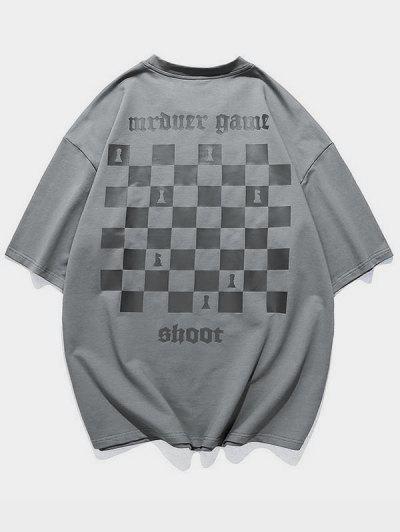 T-Shirt Casuale Con Stampa Armi - Grigio M