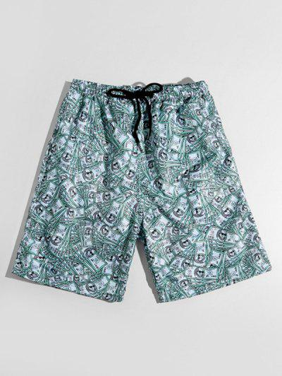 One Hundred Dollar Allover Print Casual Shorts - Medium Turquoise L