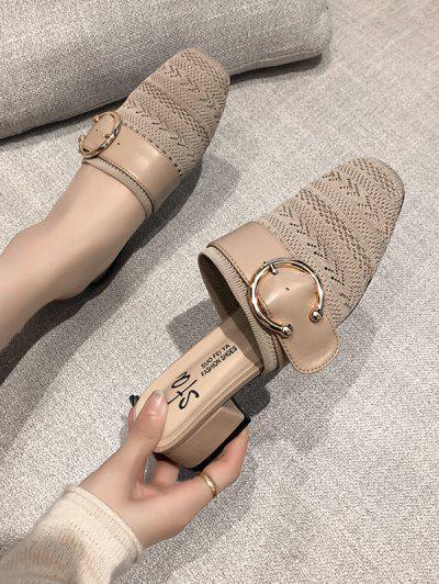 Square Toe Buckled Chunky Heel Shoes - Beige Eu 39
