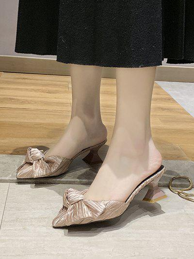 Bowknot Pointed Toe Mid Heel Pumps - Light Pink Eu 38