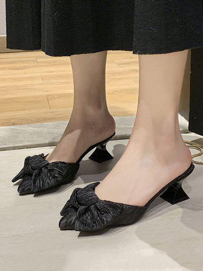 Bowknot Pointed Toe Mid Heel Pumps - Black Eu 39