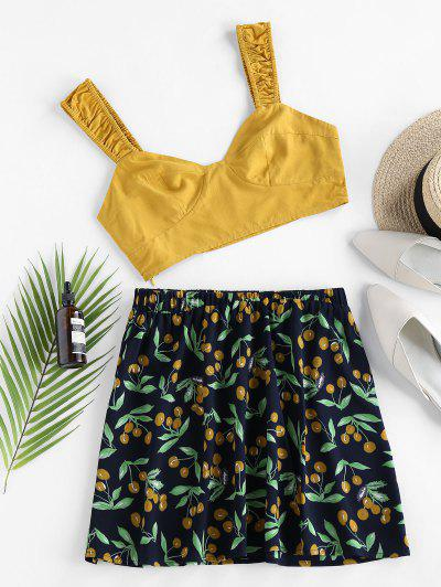 ZAFUL Cherry Print Ruched Contrast Two Piece Set - Yellow S