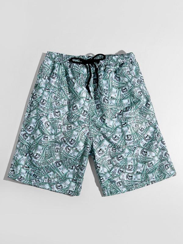 Zaful One Hundred Dollar Print Shorts
