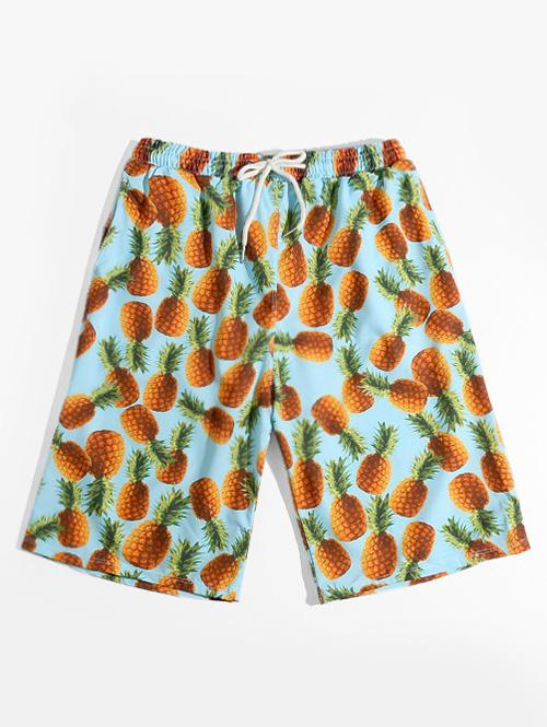 Pineapple Allover Print Vacation Shorts