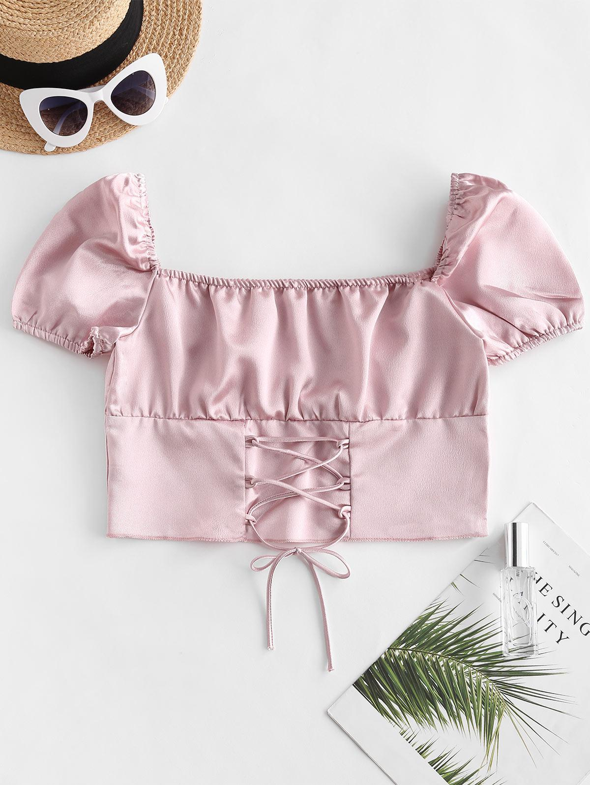 Silky Lace Up Milkmaid Blouse