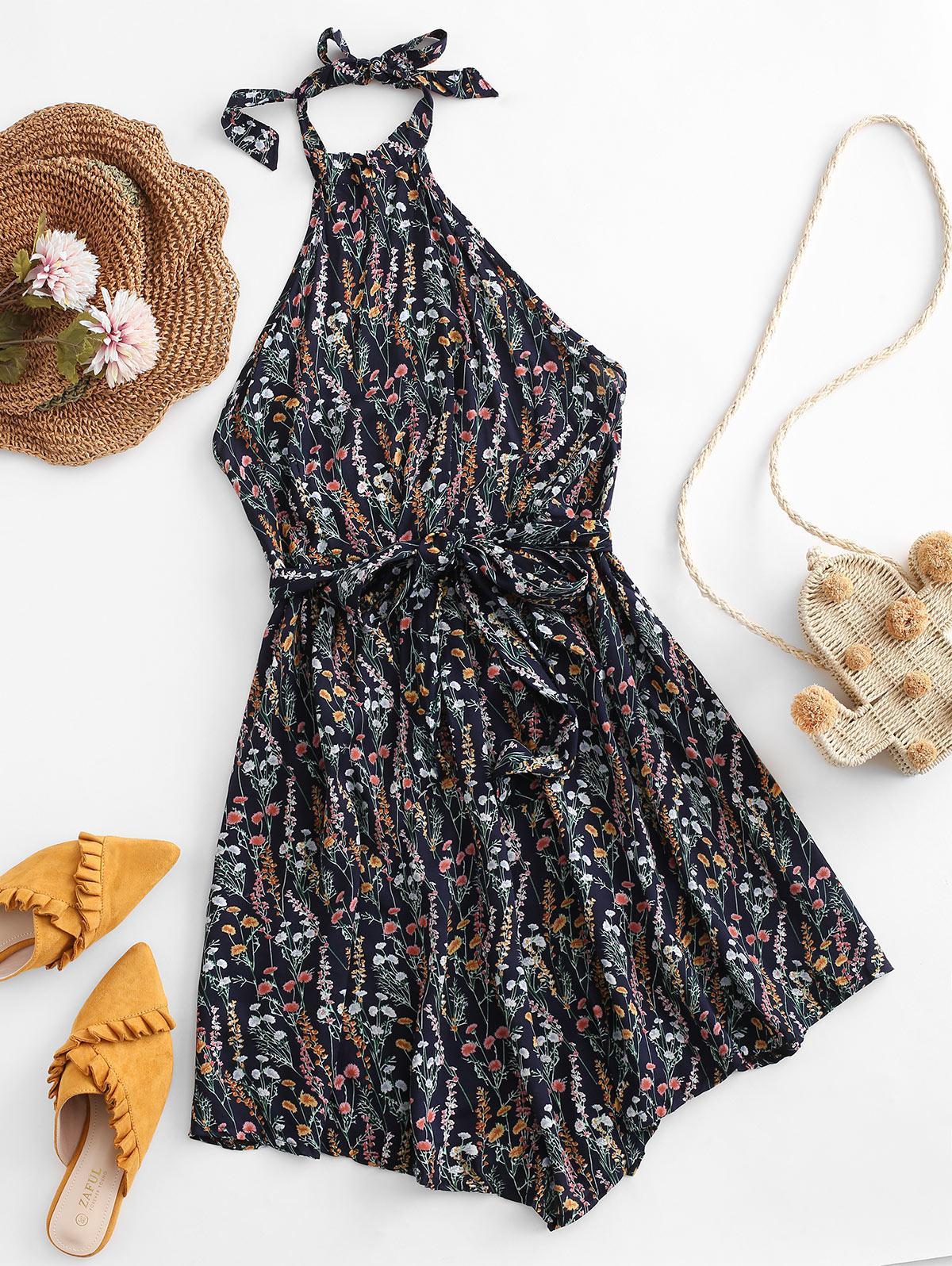 Tiny Floral Backless Belted Halter Dress