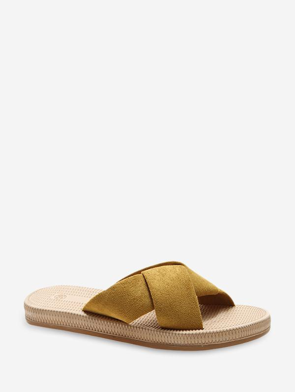 Suede Cross Strap Flat Slides
