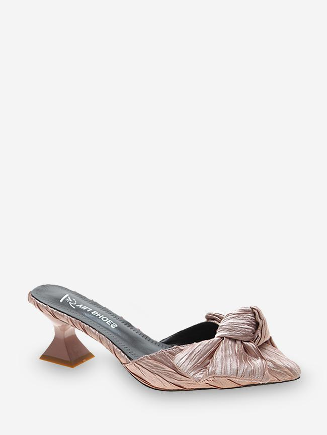 Bowknot Pointed Toe Mid Heel Pumps