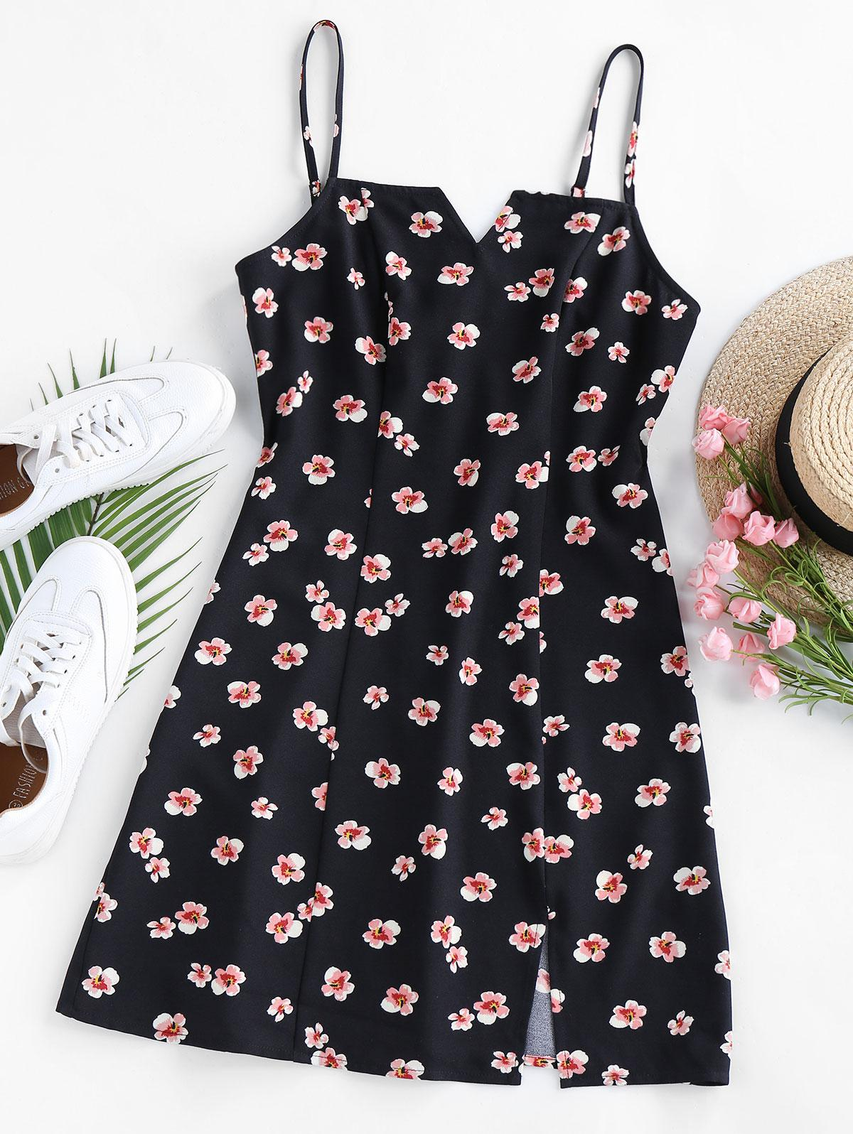 ZAFUL Ditsy Floral V Cut Slit Cami Dress
