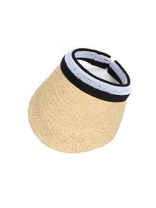 Striped Visor Straw Hat