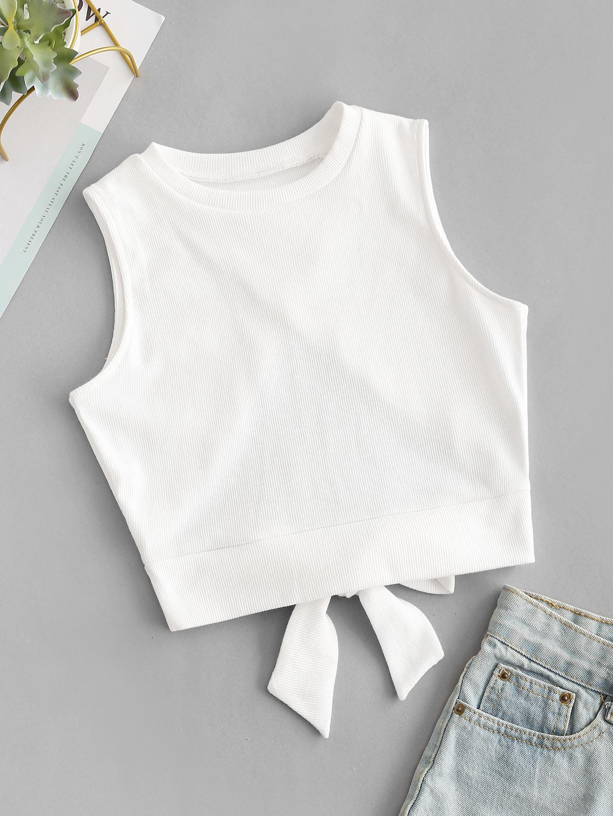 Overlap Knotted Crop Tank Top