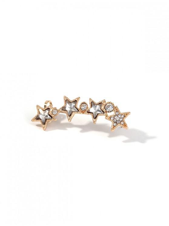 Arete de Clip de Diamantes de Imitación de Una Estrella - Oro