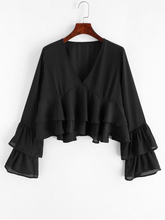 trendy Layered Sleeves V Neck Crop Blouse - BLACK M