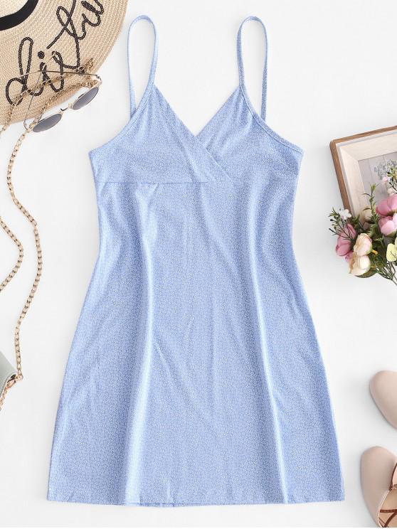 affordable Tiny Floral Empire Waist Cami Dress - LIGHT BLUE M