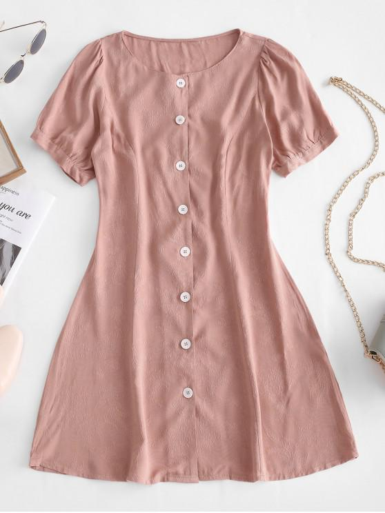 trendy Floral Jacquard Button Up Flare Dress - PINK L
