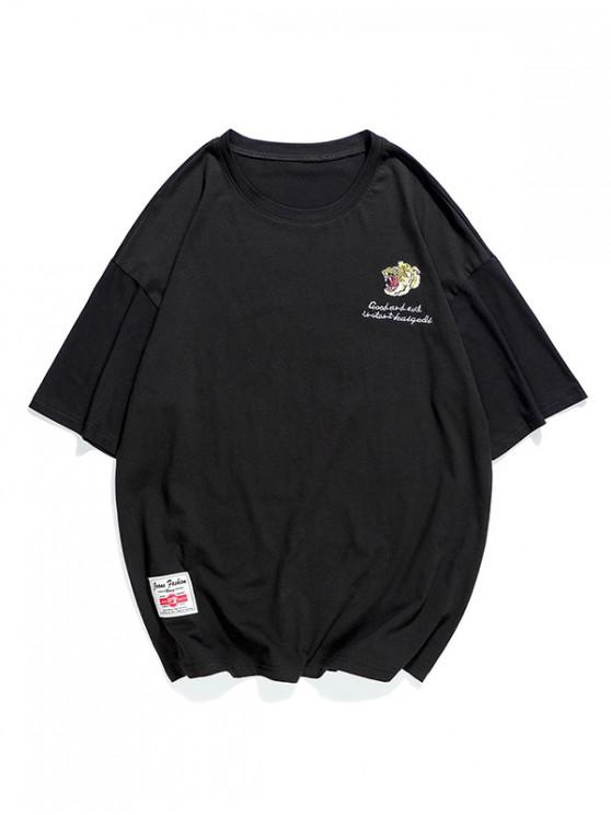 latest Embroidery Letter Graphic T-shirt - BLACK XS