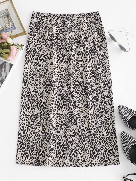 sale Leopard Print Mid Calf Flare Skirt - LEOPARD M