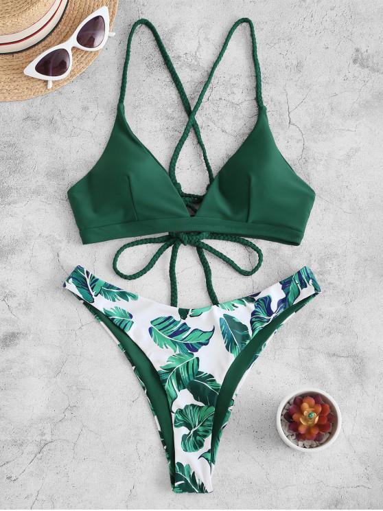 ZAFUL Costume da Bagno Bikini Stringato con Stampa Floreale - Verde intenso S