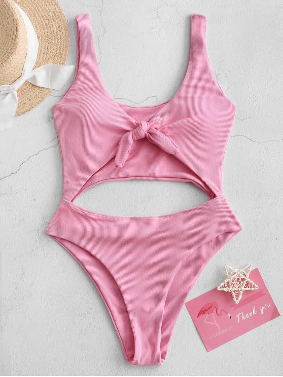 latest ZAFUL Cut Out Knotted Solid One-piece Swimsuit - PINK XL