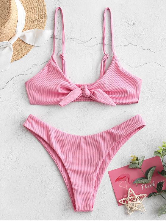 ZAFUL pețiol Tie Front ridicat Cut Bikini Costume de baie - Roz deschis L