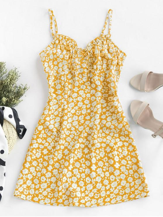 ZAFUL Mini Vestido de Babados com Impressão de Ditsy - Amarelo Brilhante M