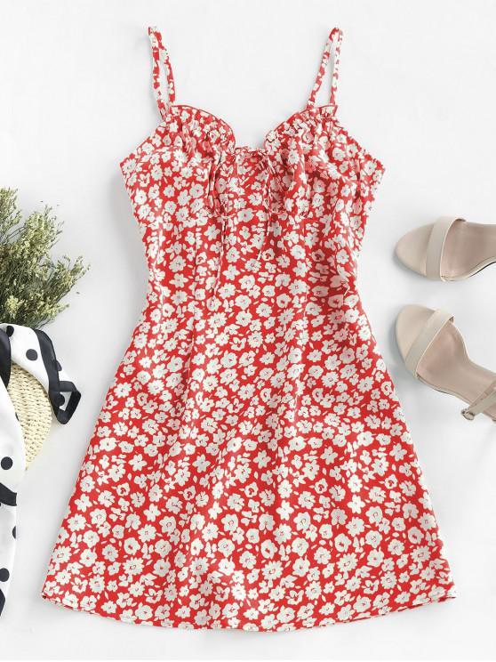shop ZAFUL Ditsy Print Frilled Cami Mini Dress - LAVA RED M